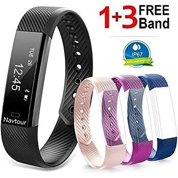 Bracelet Connecté, Montre Connectée Etanche plus 3 Couleurs Bracelets de Rechange pour Femme Homme Adolescent, Podomètre, Tracker dActivités et Sommeil, ...