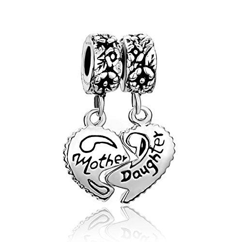 Pugster Mamma Madre Figlia Ciondolo da donna, argento sterling 925 Bead fit Pandora Charm Braccialetto