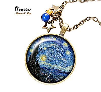 Collier * La nuit étoilée * Vincent van Gogh cabochon verre