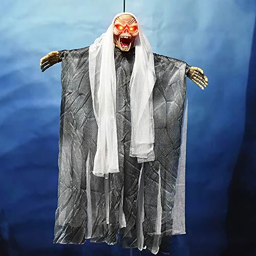 Alxcio Halloween Dekoration Geist Hexe hängende Dekorationen Skelett Gruselige Stimme Leuchtende Augen für Innen Außen Draussen Garten Hof (Weiß)