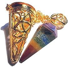 Metall Pendel (massiv) verschiedene Sorten (7 Chakra Pendel mit goldfarbenem Käfig)