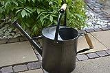 Maison en France Gießkanne Garten ca. 10 Liter- Robuste Wasserdichte- aus Metall + Zink, mit Holztragegriff und abschraubbarer Tülle- Gute Qualität