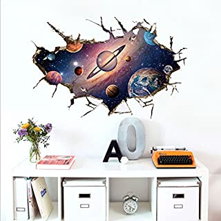 ACVIP 3D Waterproof Wall Art Sticker Decal Poster for Children Room Bedroom Living Room (Space Galaxy 4)