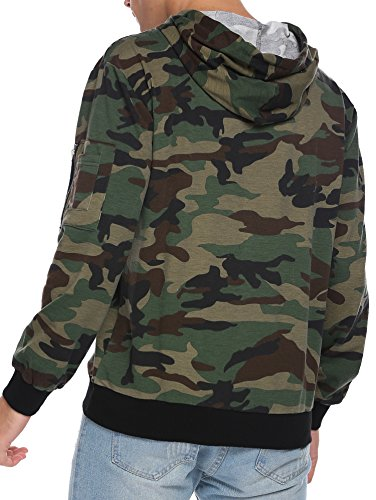 BURLADY Kapuzenpullover Herren Langarm Camouflage Hoodie Sweatshirt Kapuze mit Kordel Armee Grün