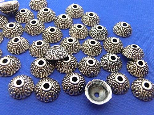 100 Perlkappen Blume Ornament Endkappen Perlenkappen Farbe antiksilber für 10mm Perlen #S140 -