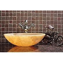 CAPSTONA Dewdrop Honey Onyx Countertop/Tabletop Yellow Designer Oval Bathroom Washbasin, 400 x 400 mm