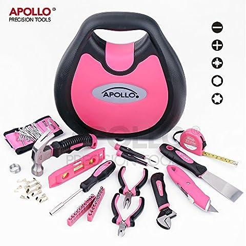 Apollo 72 pièces en forme de maison-Rose-Sac porte-outils avec Bandeau de poignet aimanté pour la maison, les projets, les réparations et les tâches d'entretien