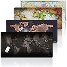 JIALONG Grande World Map Alfombrilla raton Alfombrilla de ratón Gaming Mouse Pad Desk Mat - Dimensiones 900x400mm - Base de goma antideslizante - Superfície con textura especial