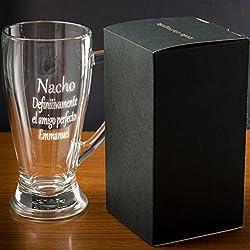 Regalo personalizable: jarra de cerveza baviera grabada con el texto que tú quieras
