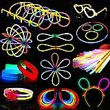 Ruisen Knicklichter Knicklicht für Dreifach Armbänder, Ketten, Premium Leuchtstäbe Set für Brillen, EIN Stirnband, Ohrringe, Blumen, EIN Leuchtball Party Favors Zubehör