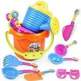 Ndier Spiaggia di sabbia regolato giocattoli per i bambini Beach Secchio Set con stampi Benna e morbida plastica Pool Toy Set 9 Pezzi Spiaggia di giocattoli colore casuale