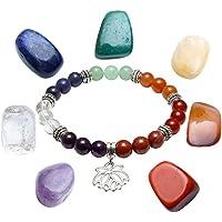 JOVIVI 7 Chakra Edelstein formlos Feng Shui Healing Reiki Steine Energietherapie Dekoration + Lotus Balance Armband... preisvergleich bei billige-tabletten.eu