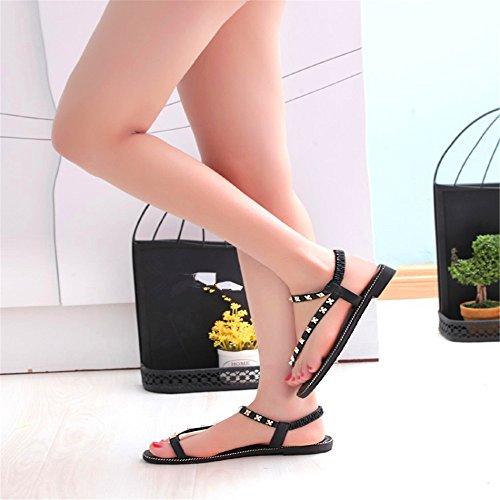 LXNW Version coréenne de la marée rivets toe flat metal flat avec le dossier toe ladies sandals Green