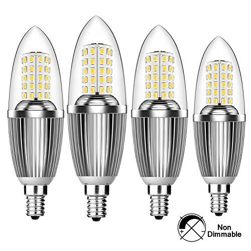Hzsane bombillas LED E14con forma de vela, 12W, 100W bombillas incandescentes equivalente, 6000K blanco frío, candelabro E14SES bombillas, intensidad no regulable, 1200lm, bombilla LED, rosca Edison pequeña vela bombillas, 4unidades