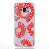 Misteem Hülle Galaxy S8 Matt Silikon, Slim TPU Transparent Kreative Bunte Muster Rückseitige Abdeckung Weich Dünn Elegant Case Stoßfest Leichte Gummi Schutzhülle für Samsung Galaxy S8 - Rot Donut