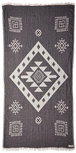 Bersuse 100% cotone - asciugamano turco veracrus - certificato oeko-tex - peshtemal fouta per bagno e spiaggia - pestemal tessuto a mano con design bohémien - 100x180 cm, nero