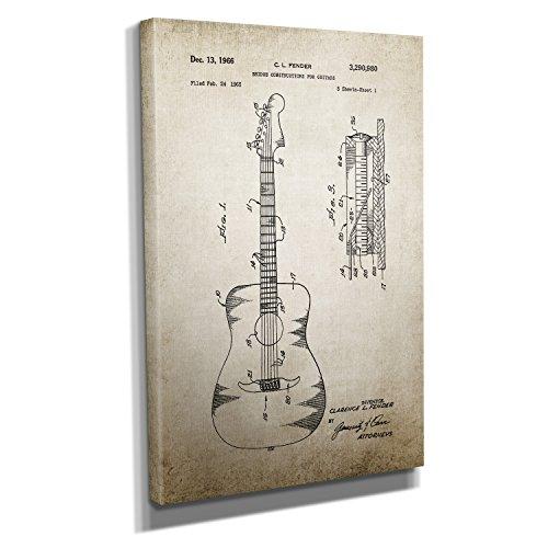 Nerdinger Vintage Guitar Construction - Kunstdruck auf Leinwand (30x45 cm) zum Verschönern Ihrer Wohnung. Verschiedene Formate auf Echtholzrahmen. Höchste Qualität.