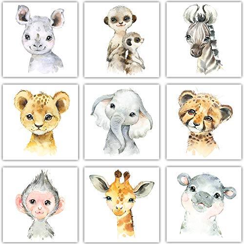 Frechdax 3er Set Kinderzimmer Poster Kinderzimmer Deko Bilder DIN A4 | Waldtiere Safari Afrika Tiere Porträt Tierposter...