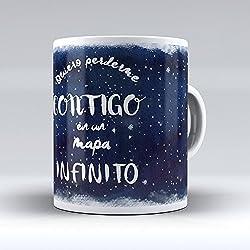 """Taza cerámica desayuno regalo original San Valentín pareja novio novia """" quiero perderme contigo en un mapa infinito"""""""