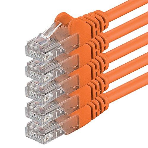 1aTTack.de 0,25m - orange - 5 Stück - (Pack) - CAT.6 CAT6 Ethernet-LAN-Netzwerk-Kabel 1000Mbit/s Patchkabel -