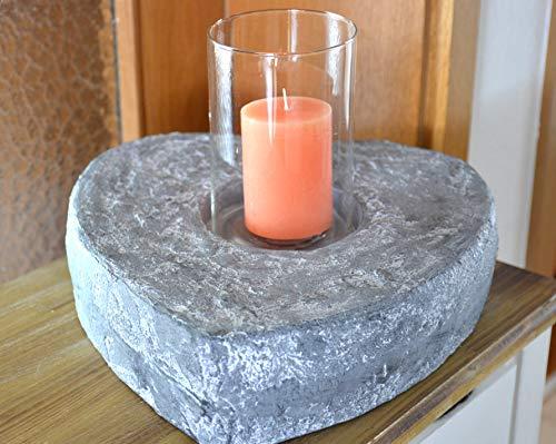 Maison en France Herz mit Windlichtglas- sehr dekoratives großes für Kerzen, Pflanzen oder andere dekorative Gestaltung - in Steinoptik -