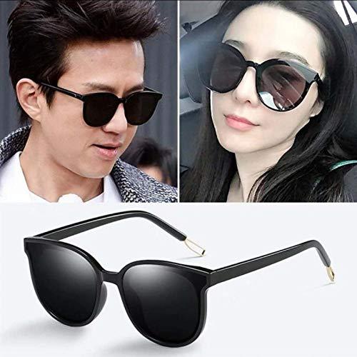 Sonnenbrille weiblichen koreanischen Version der Flut Sonnenbrille Männer fahren Brille Frauen UV-Schutz F1 schwarzen Rahmen Quecksilbertabletten Brillentasche Brillentuch zu senden, schwarzer Rahmen