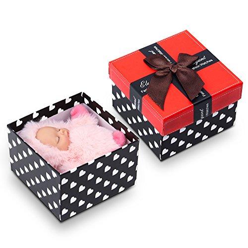 Kleine Reborn Baby Doll Soft Plüsch Simulation Schlafende Baby Puppe mit Schlüsselring Pack in Wonderful Box Pink (AOKE) (Plüsch-baby-puppe)