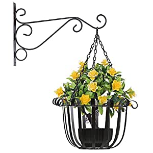 Hanging Planter Basket Flower Pot Holder Round Iron Hanging Planter Pot Basket Floating Wall Hanging Planter Vase Container for Indoor/Outdoor Garden Décor Patio