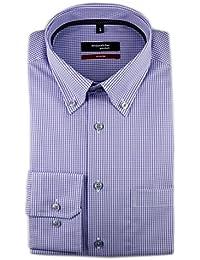 6f0e0e92fedb Seidensticker Herren Langarm Hemd Modern Regular Fit Button-Down-Kragen BD  Patch7 lila weiß kariert…