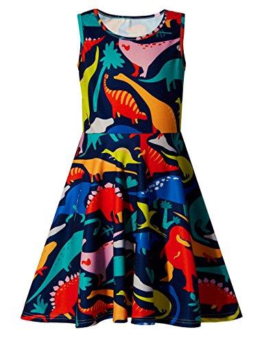 Adicreat Mädchen Gedruckt Dinosaurier Niedlich Ärmellos Kleid Sommerkleid 10-12 Jahre (Mädchen Für Dinosaurier,)