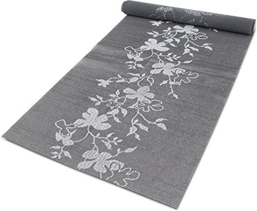 Tischläufer/Tischdecke / Mitteldecke/Tischdekoration / Tischband Pflegeleicht - 40 cm breit und 50, 100 oder 150 cm lang Farbe Floral Grau Größe 150 cm