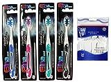 COM-FOUR® 4er Set Handzahnbürste Medium Perfect Clean mit Zungereiniger inklusive