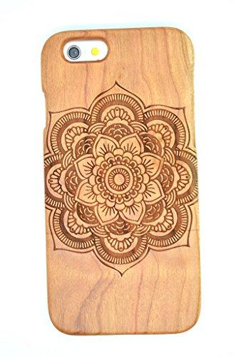iPhone 6s Plus Hülle (5,5 Zoll), Holzsammlung® Holz Tasche für iPhone 6s Plus (Kirschholz Indischen Buddha) - Holzsammlung® Handgefertigt Hölzernen Fall und Abdeckung für Ihr Smartphone und Tablet PC Kirschholz Mandala Blume