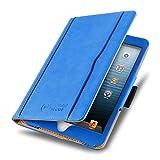 iPad Mini Hülle | JAMMYLIZARD Ledertasche Flip Case [Business Tasche] Leder Smart Cover Lederhülle für iPad Mini 4. 3. 2. & 1. Generation, Blau & Honig [mit Eingabestift & Pencil Halter]
