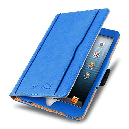 ür iPad Mini | Ledertasche Flip Case [Business Tasche] Leder Smart Cover Lederhülle für iPad Mini 4. 3. 2. & 1. Generation, Blau & Honig [mit Eingabestift & Pencil Halter] ()