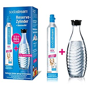 SodaStream Reservepack mit 1x CO2-Zylinder und 1 x 0,6 L Glaskaraffe (spülmaschinengeeignet)