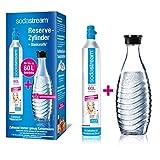 SodaStream Reservepack mit Glaskaraffe (1 x CO2-Zylinder für 60L und 1 x 0,6L Glaskaraffe) -