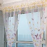 Là Vestmon Schmetterlings-Print Vorhang Blumen Tulle Voile Gardinen Rosa Garten Küche 100x200 cm
