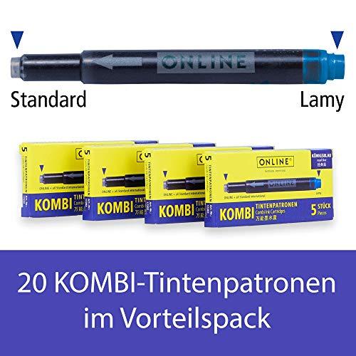 Online Kombi-Tintenpatronen (Universal-Patronen, kompatibel mit allen gängigen Füllern, auch Lamy-Füller, Ersatz-Patronen, löschbar, auswaschbar) 4er Pack königsblau
