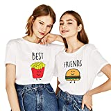 T-Shirt Best Friends Für 2 Mädchen Shirt Best Freund Burger Pommes Oberteil BFF Top Aufdruck Damen Schwarz Baumwolle Kurzarm Bluse Geschenk 2 Stücke(Weiß,BE-XS+FR-XS)