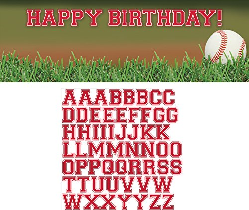 NT Happy Birthday Banner mit Buchstabe Aufkleber (Baseball-happy Birthday-banner)