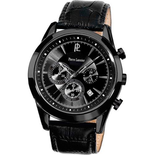 Pierre Lannier 225C433 - Reloj analógico de cuarzo para hombre con correa de piel, color negro