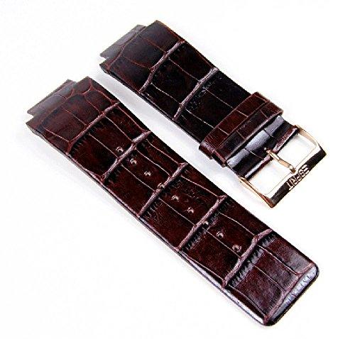 Esprit Ersatzband Uhrenarmband Leder Band mit Krokoprägung dunkelbraun 21mm für 4388402