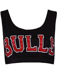 Damen BULLS AUfdruck College Team Basektball Chicago Runder U-Ausschnitt Stretch Ärmelloses Träger BH Bauchfreies Top