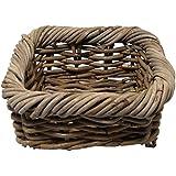 Sturdy Square Rattan Storage Basket. Fruit Veg. Country Chic.