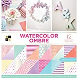 American Crafts Watercolor Ombre Premium Bedruckt Karton Stack, Aquarell Ombre, 12W/Pearl Folie