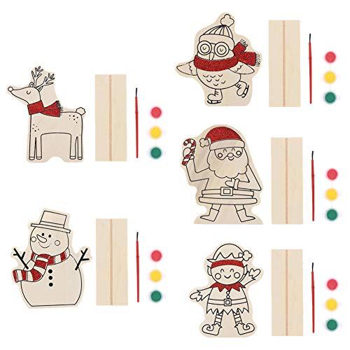 Ornamenti Legno di Natale 5 Pezzi Mini Natale Artigianato Legno Fai da Te Decorazioni per la casa di Natale Ornamenti Dipinto Colori per Bambini Pate
