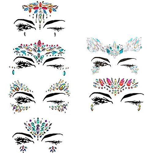 6 Sets Strass Gesicht Juwelen Aufkleber, temporäre Gesicht Edelsteine Augen Tattoos Aufkleber Body Eye Zubehör (A)
