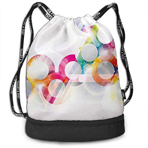 Disc Shaped Circle Gradient Bubbles Drawstring Bag for Men & Women - Large Storage Waterproof Cinch Backpack Sackpack Tote Sack for Gym Travel