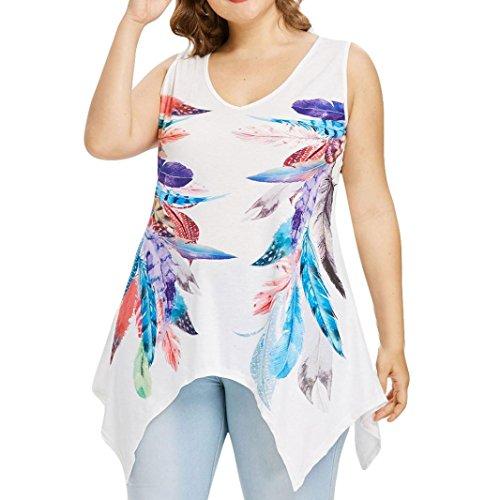 Kobay Women Tank Tops, Ladies' Plus Size Sleeveless Feather Printing Blouse Vest T-Shirt Tops Fashion